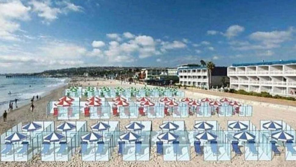 Mamparas de separación para que podamos ir a la playa en plena pandemia